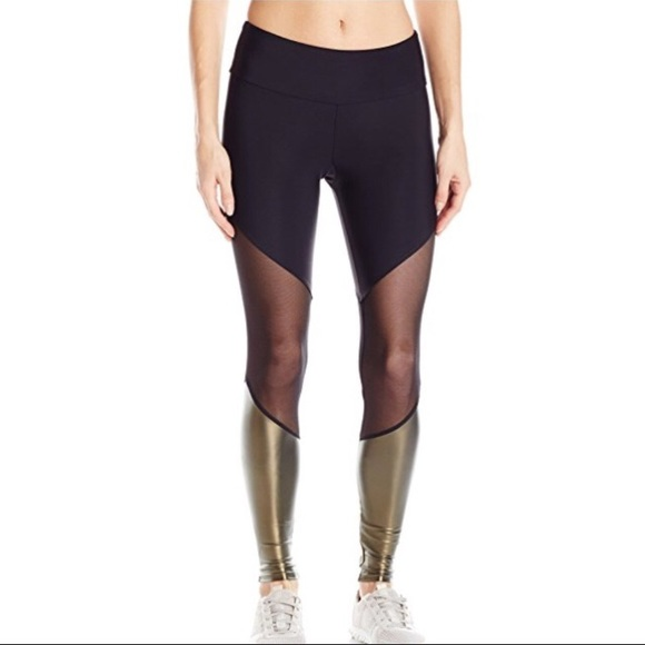 f5b7bc05e1 Onzie Pants | Xss Metallic Gold And Black Mesh Leggings | Poshmark